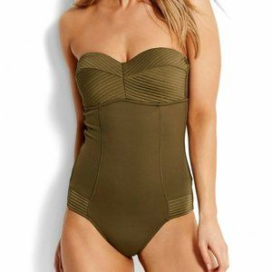 Seafolly Olive Green Swimsuit One Piece Halter